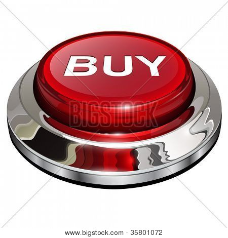 Buy button, 3d red glossy metallic icon, vector.