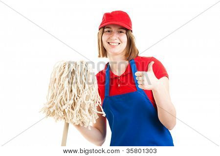 Teenage girl in a work uniform, holding a mop and giving the thumbs up sign.  Isolated on white.