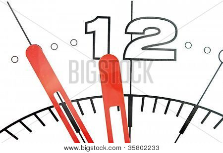 Wall clock dial isolated on white background showing time