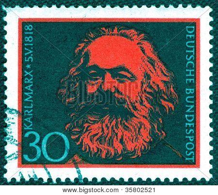 GERMANY - CIRCA 1968: A stamp printed in Germany  of Karl Marx , circa 1968