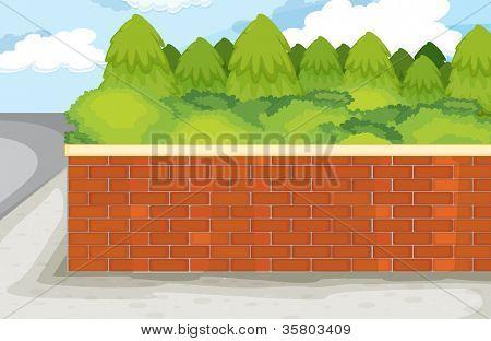 Illustration der Ziegelmauer auf Natur grün hintergrund