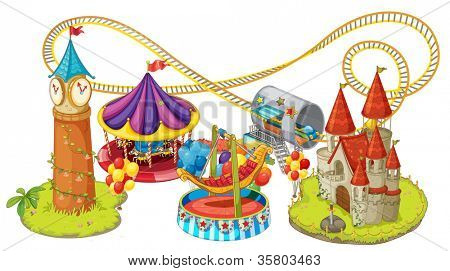illustration of funfair games on a white background