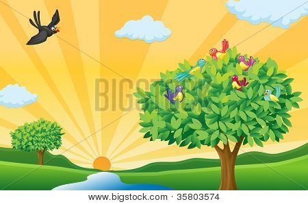 illustration of tree, birds and sun rays in a beautiful nature