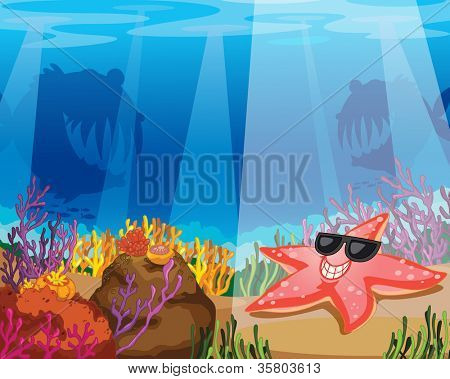 illustration of a starfish in deep water