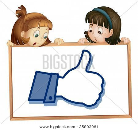 illustration of girls showing thumb picture on a white
