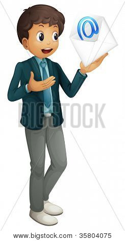 illustration of a boy holding mail envelop on a white