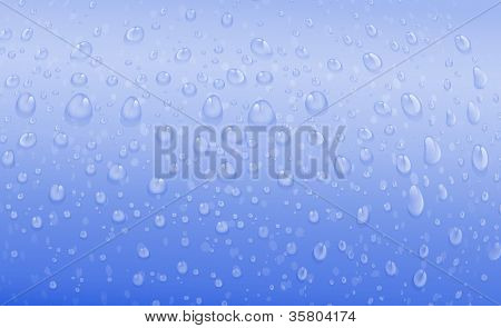 illustration of water drops on a blue background