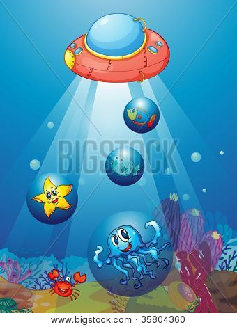 illustration of submarine and fishes in deep sea waters