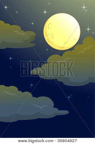 illustration of full moon in a dark night
