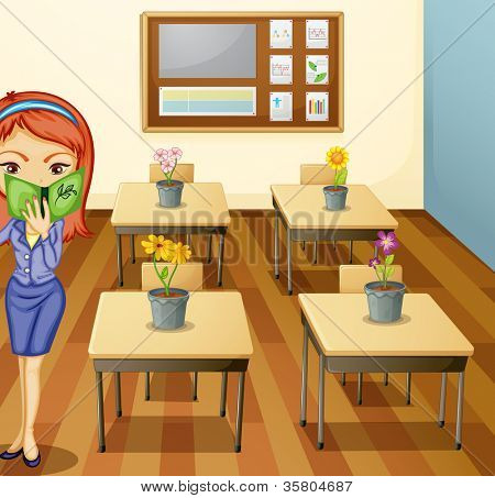 illustration of a a girl in a classroom