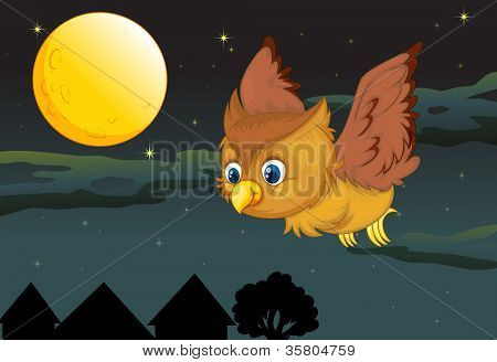 illustration of flying owl and full moon in a dark night