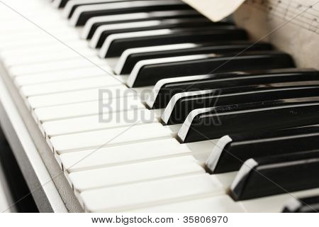 background of piano keyboard, close up