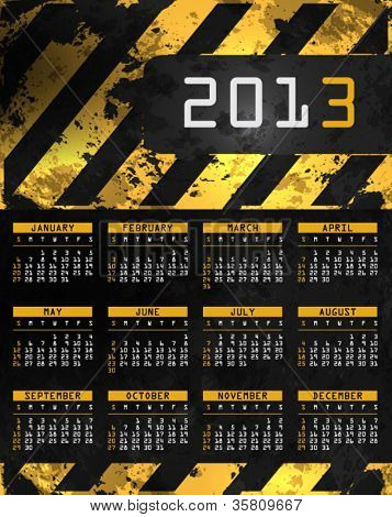 Vector abstract calendar, design template for 2013