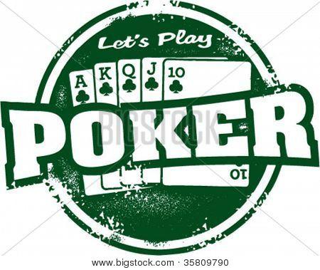 Let's Play Poker Vintage Stamp