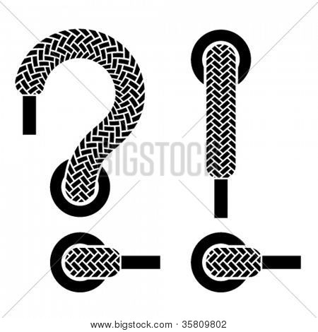 vector shoe lace question exclamation marks