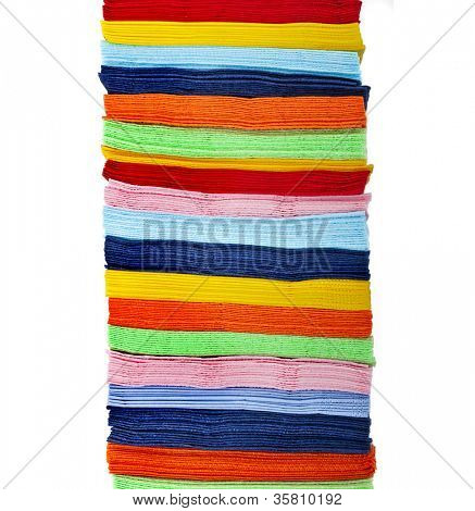 stack of colorful strips paper napkins isolated on white  background