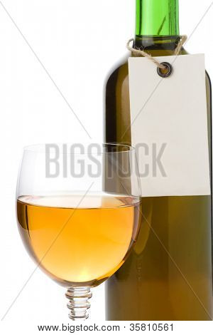 wine in glass and tag price isolated on white background