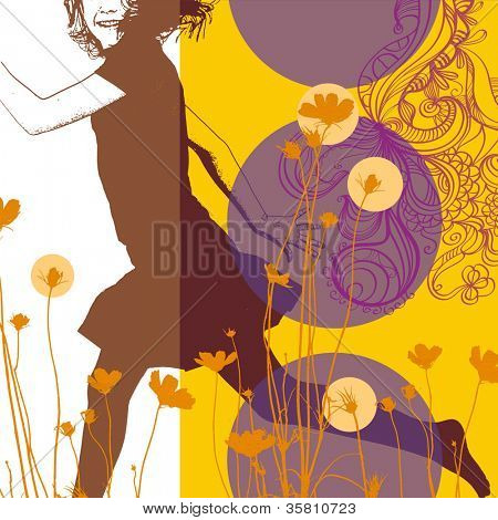 Abstract collage illustration with happy young girl