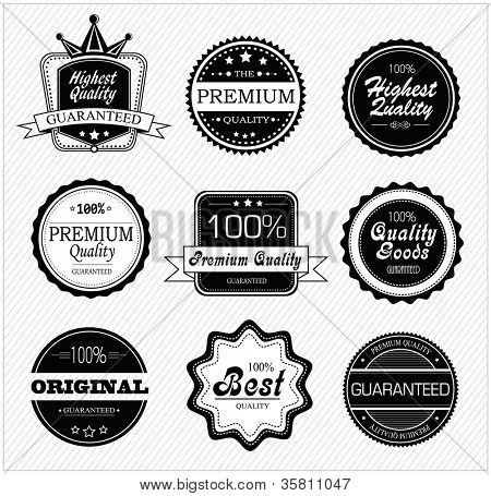 Vector set of premium quality and guarantee labels