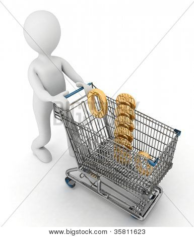 person rolls the shopping cart with sign of percentage inwardly