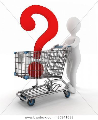 man rolls the shopping cart with the question mark inwardly
