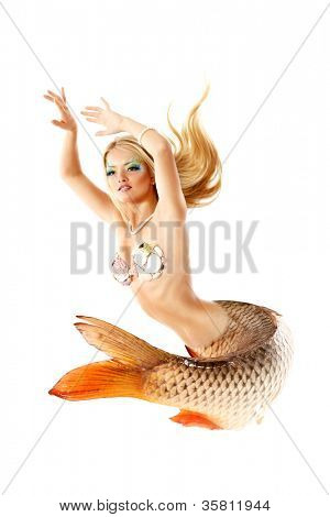 portrait of beautiful mermaid girl with fish tail, magic mythology being original photo compilation, isolated on white background