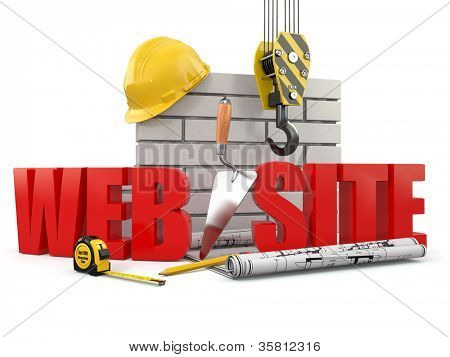 Web site building. Crane, wall and tools. 3d