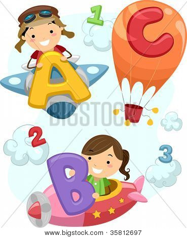 Illustration of Stick Children Carrying Letters of the Alphabet Onboard a Plane