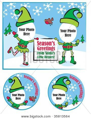 Fun Christmas Vector Greeting Card and Gift Tags.  Simply add your own photo face to complete the picture.