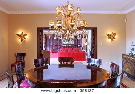 Interior Of Dining Room In Expensive Spanish Villa