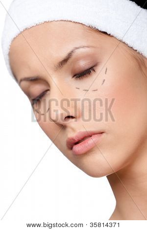 Facelift, plastic surgery, isolated, white background