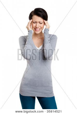 Girl is in despair trying to solve problems, isolated on white