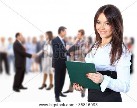 business woman leading her team isolated over a white background