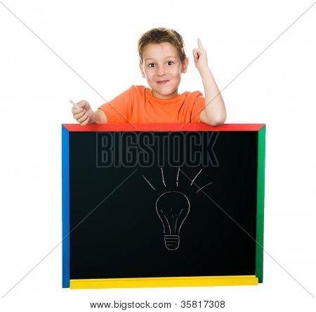 the little boy has an idea. white background
