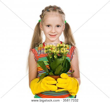 little girl holding a plant on a white background