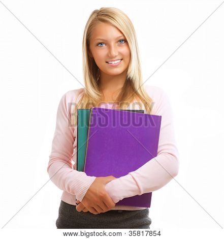 Student. Happy and Smiling Teenage High School Student Girl Isolated on a White Background