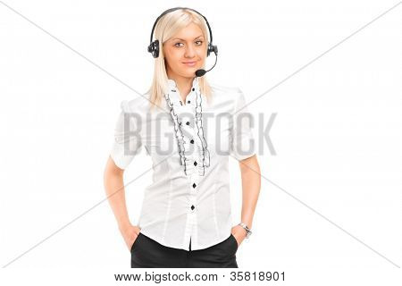 A female customer service operator with headphones and microphone isolated against white background