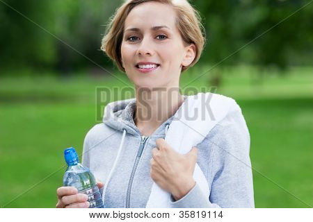 Woman taking a break from exercises