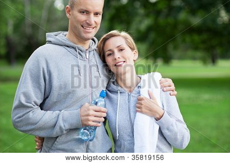 Couple taking a break from exercises