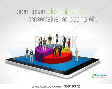 Tablet with business people on chart