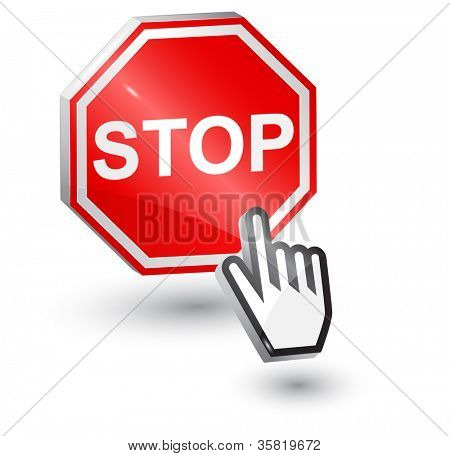 Vector illustration of Stop sign, 3d, with mouse cursor hand.