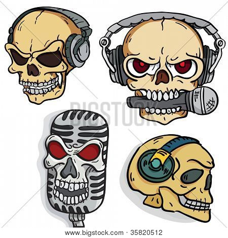 Set of rock music skulls in headphones and microphones