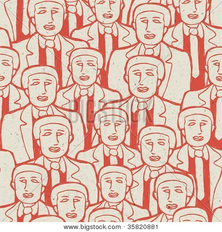 Abstract crowd of business men's. Seamless pattern, vector concept, EPS10