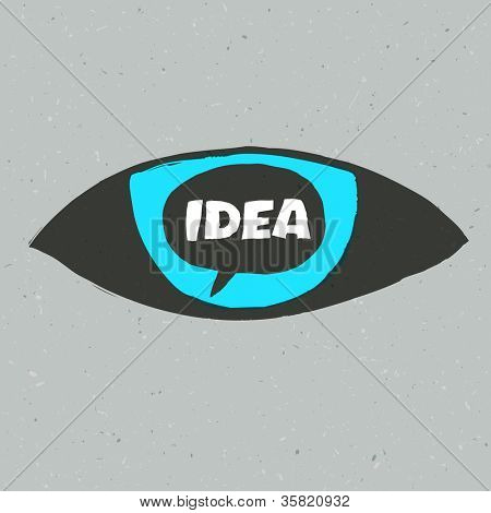 Eye symbol with idea word. Raster version, vector file available in portfolio.