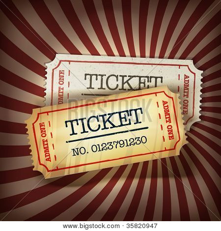 Golden and regular tickets concept illustration. Raster version, vector file available in portfolio.