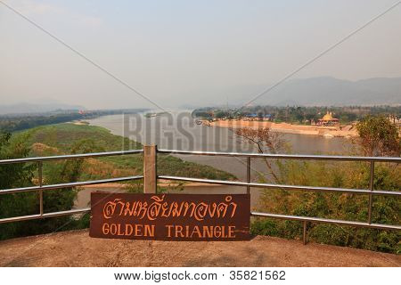 The famous Golden Triangle. Place on the Mekong River, which borders three countries - Thailand, Myanmar and Laos.
