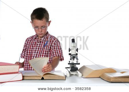 Child Scientist With A Pen In His Pocket Consulting Book