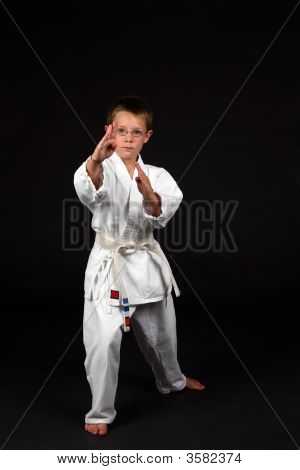 Traditional Karate Student Demonstrating Hand Block