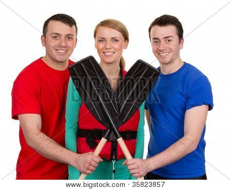 Three People With Oars