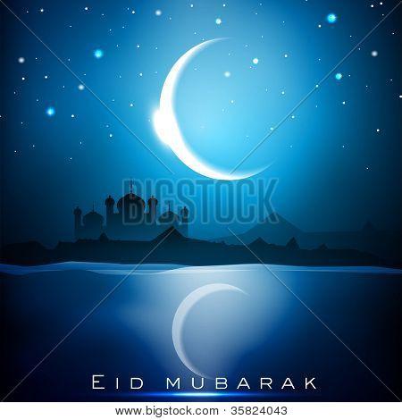 真寺和闪闪发光的月亮